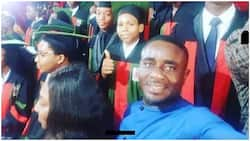 Nollywood actor Emeka Ike praises God as his son Kelly graduates from college