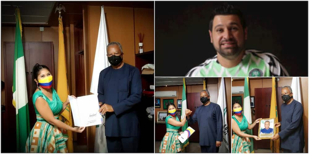 White Nigerian shares adorable photos on social media as his 32-year-old wife represents Colombia in Nigeria