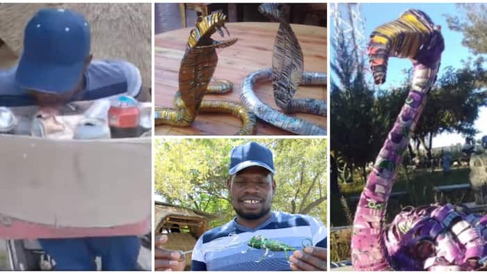 Talented disabled man makes ostrich, snakes and frog artworks from beer can wastes, he has sold one for N328k
