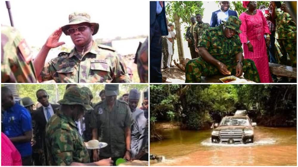 Insecurity: Governor Yahaya Bello rocks military camo, storms forest to boost soldiers' morale