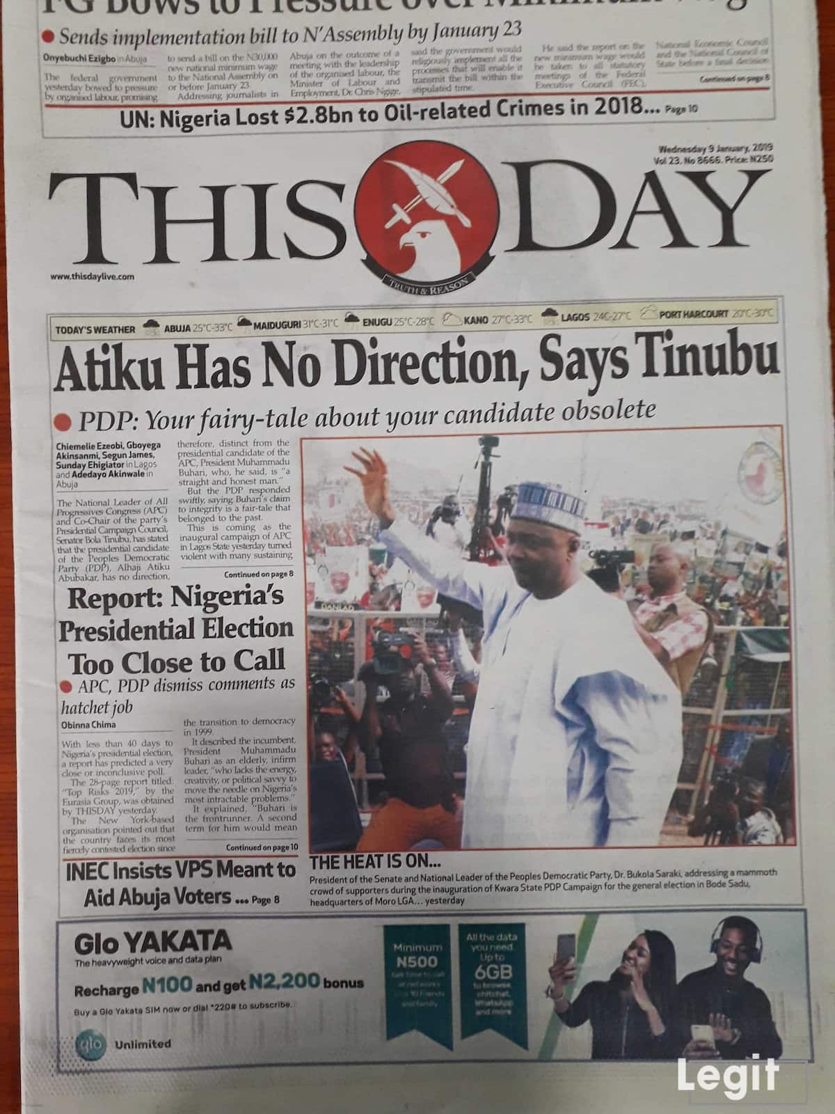 This Day newspaper for Wednesday, January 9. Credit: Legit.ng