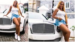 Linda Ikeji clocks 41 in style, rocks matching outfit with her white Bentley Mulsanne in birthday photos