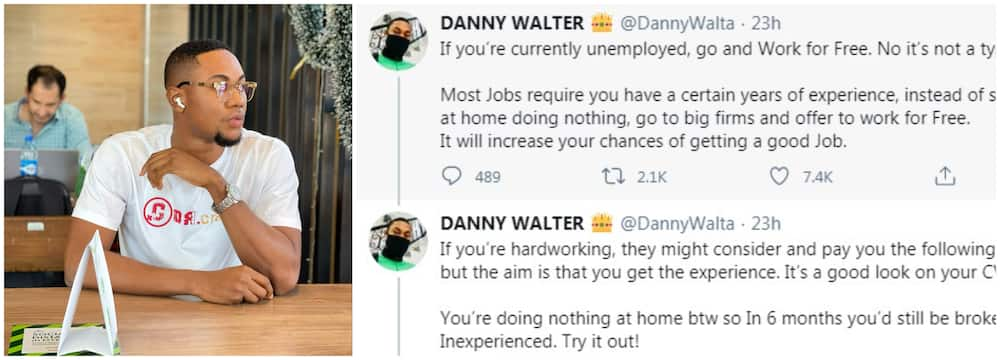 Man advisers job seekers to work for free than staying idle, social media react