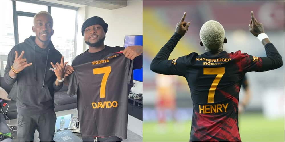 Football Meets Music As Super Eagles Star Gives Davido Club Jersey With His Name Written On It