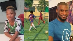 Peter Okoye's son Cameron scores superb goal after producing a 'no-look' pass Ronaldinho will be proud of