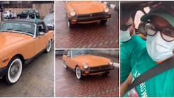 Nigerian man shows off his 1977 MG Midget car that is still in good shape after 44 years, drives it in clip