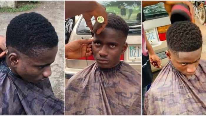 Nigerian man warms hearts online after giving student free haircut on OAU campus, many react to the outcome