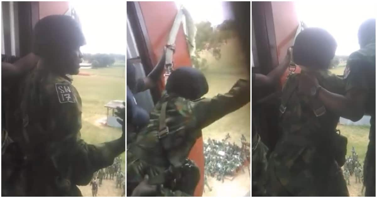 Viral video of young Nigerian soldier refusing to jump