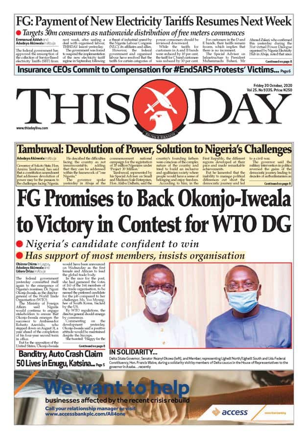 Newspaper review for Friday, October 30: IGP begins tour of commands amid #EndSARS protest