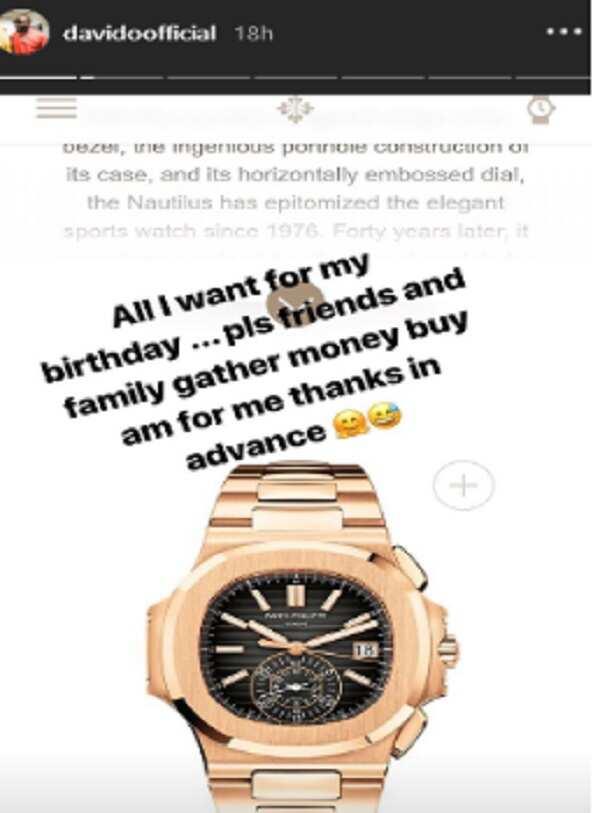 Davido wants N32 milion 'Patek Phillipe' wrist watch for his birthday