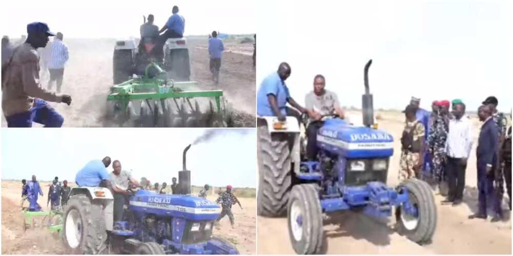 Governor Zulum harrows his own farm