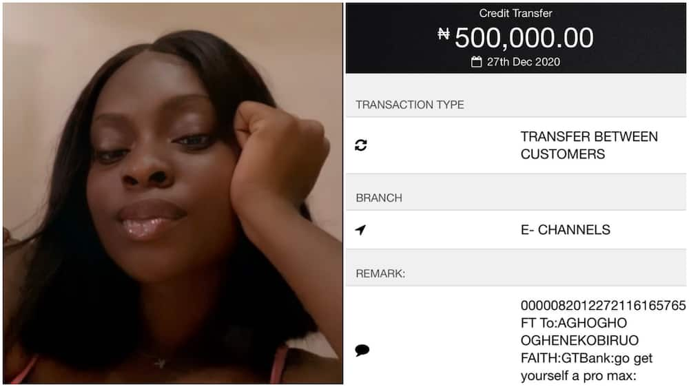 Pretty lady gets N500k on Twitter as money for new iPhone, Nigerians react