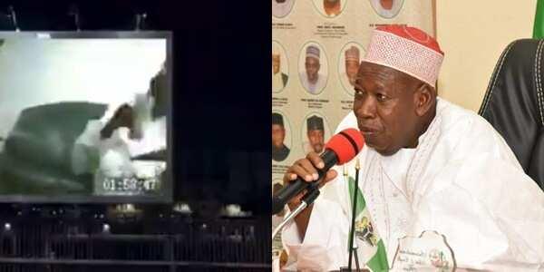 Edo election: Unknown group puts Ganduje dollar video on big billboard