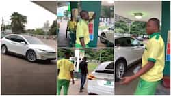 Man takes Tesla electric car to buy fuel at filling station in Lagos, petrol attendant becomes confused