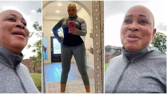 54-year-old actress Bukky Wright hits the gym again after a month of staying away, shares video