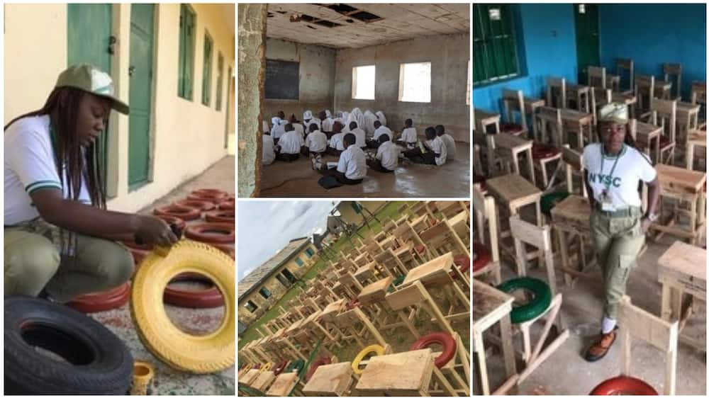 A collage showing the students on the floor and the new desks and chairs the corps made.  Photo source: Twitter/LecheWinfred Maagawa