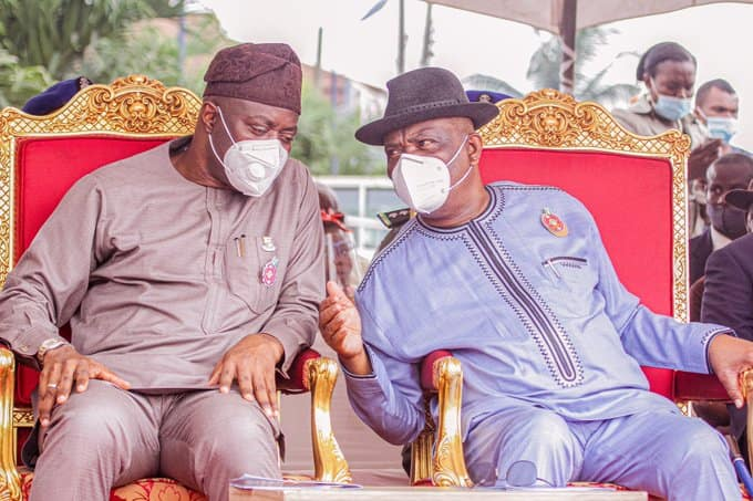 Governor Seyi Makinde of Oyo state with his Rivers state counterpart, Nyesom Wike