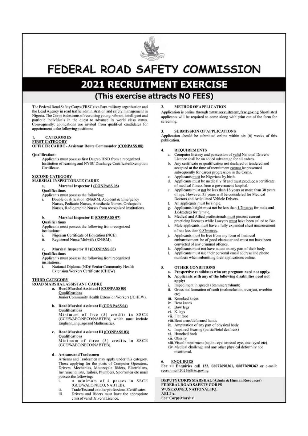 Explainer: How to Apply for Vacancies in the FRSC
