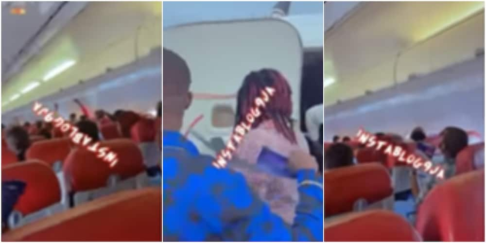 Passengers of an aircraft fanned themselves with papers