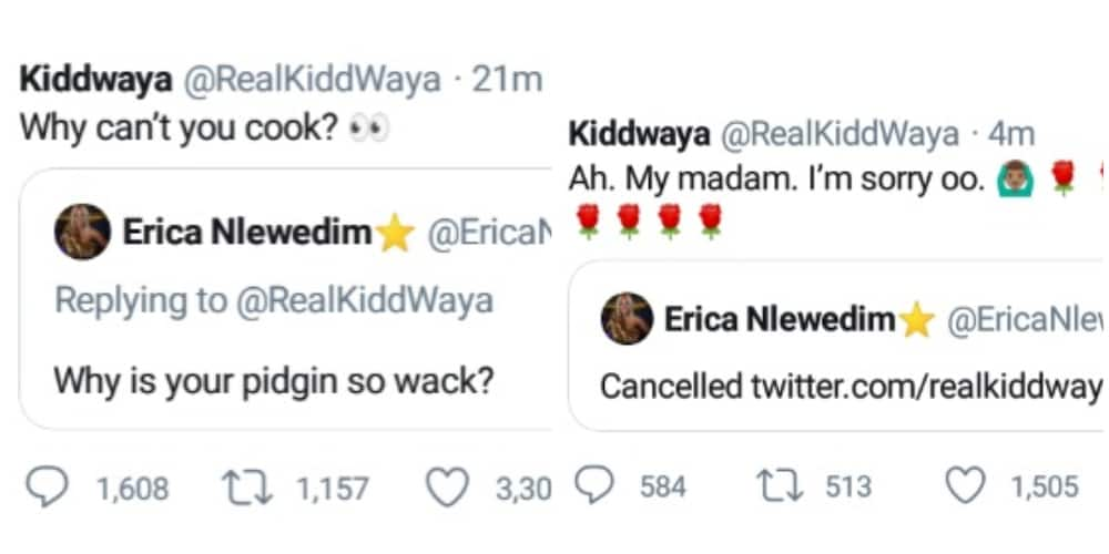 Kiddwaya and Erica throw playful jabs at each other on Twitter