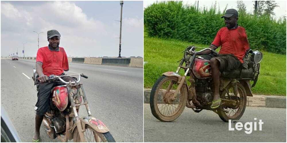 Idris Umar: 42-year-old man with 1 hand rides motorcycle on third mainland bridge
