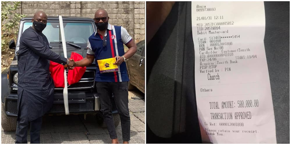 Reactions as ex-governor Fayose's brother, Issac, shows receipt of N500k seed he sowed in church