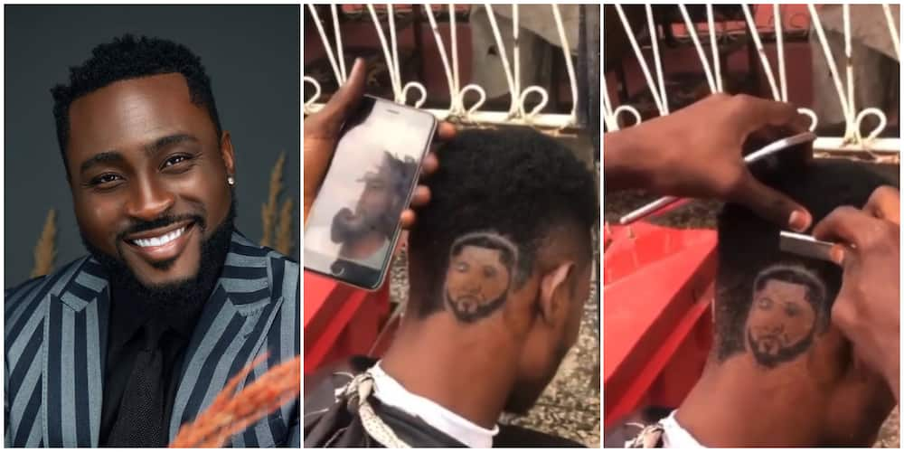 Barber carves out General Pere's face on customer's head.