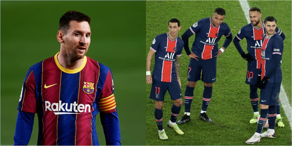 French media taunt Barcelona with fake picture of Messi wearing PSG's shirt ahead of UCL clash