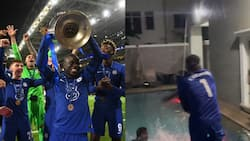 Video of Paul Okoye throwing money for friends inside his swimming pool goes viral after Chelsea UCL win
