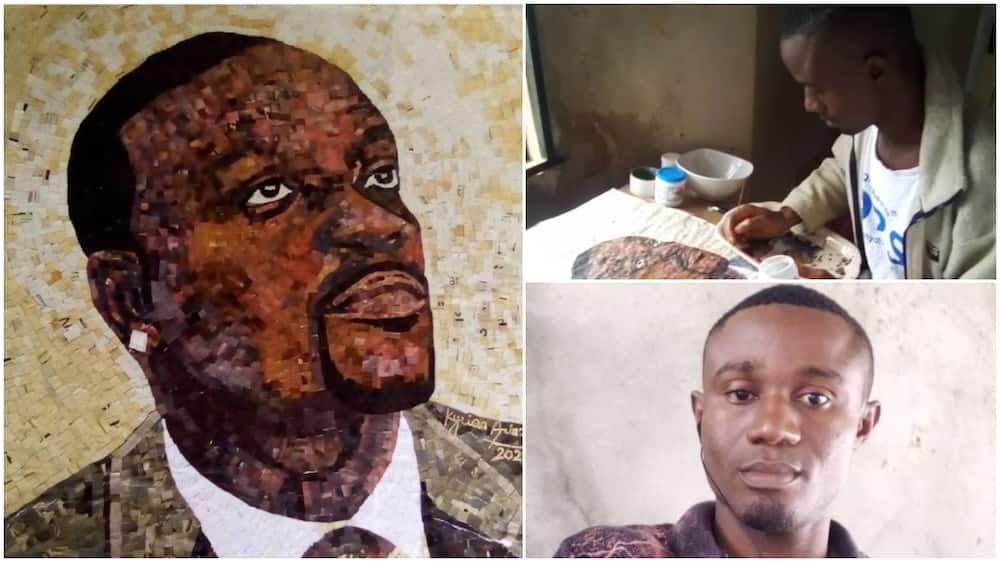 Jubilation As Akon Recognises Anambra-Born Artist After He Used Old Newspapers to Create His Photo