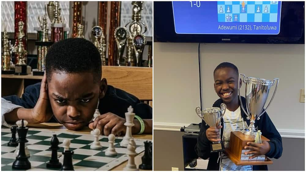10 Year Old Nigerian boy beats many in US, wins big cup as a pro chess player, many react to his smiling photo