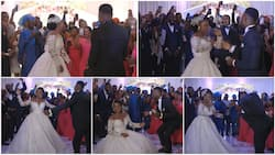 Wife can dance: Bride shows off legwork despite big wedding gown, husband rains dollars on her in viral video
