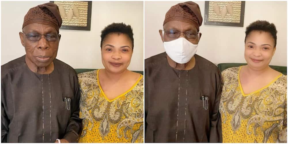 Nigerians bash actress Laide Bakare as she shares photos from her meeting with ex-president Obasanjo