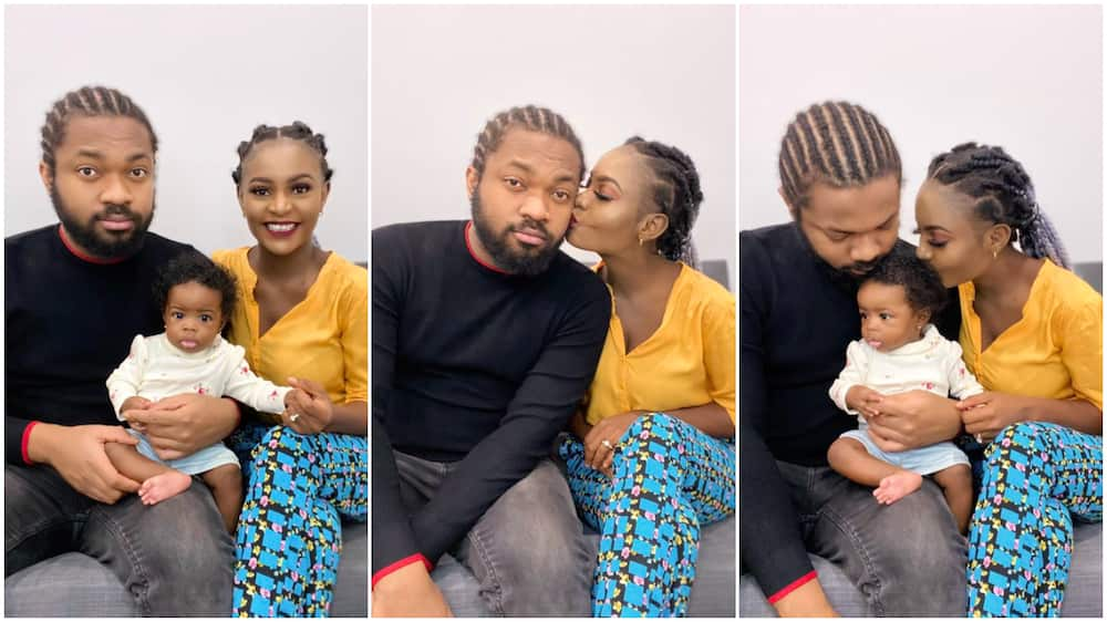 Photos of Nigerian family with father wearing plaited hair generate reactions