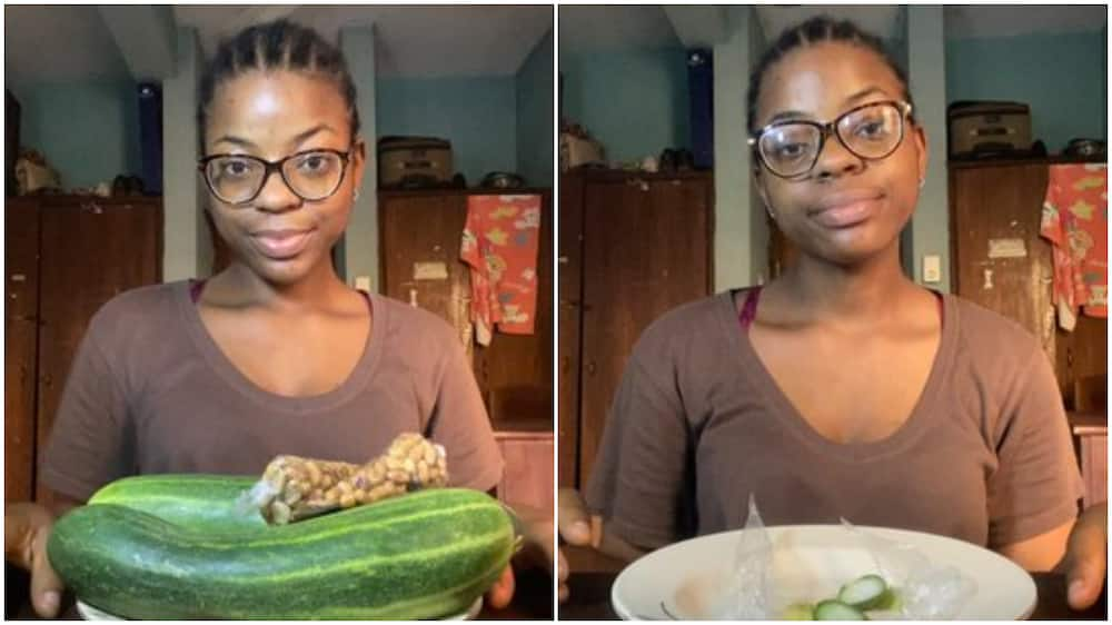 Nigerian lady finishes 2 big cucumbers with packs of groundnuts, her photos generate massive reactions