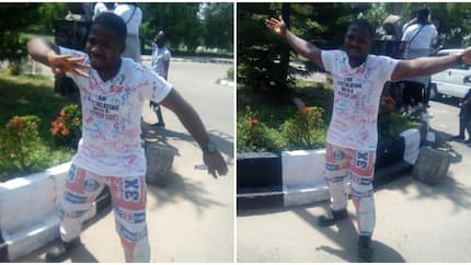 Photos of university student rocking cement sack as pant trouser to celebrate his graduation
