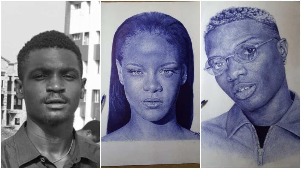 Young Nigerian artist from Ibadan draws Wizkid, Rihana with pen on paper