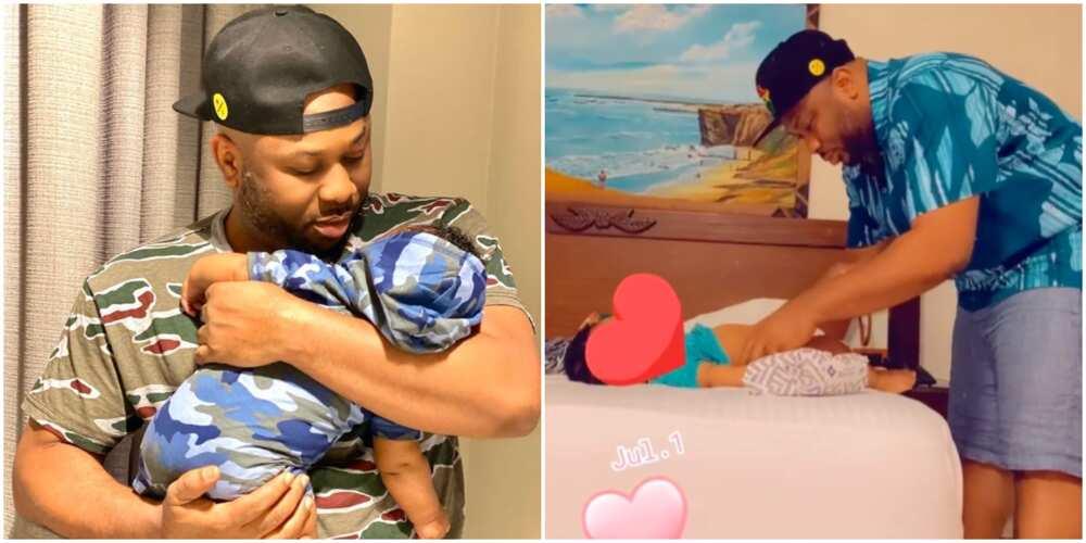 Tonto Dikeh's Ex Olakunle Churchill changes baby's diaper.