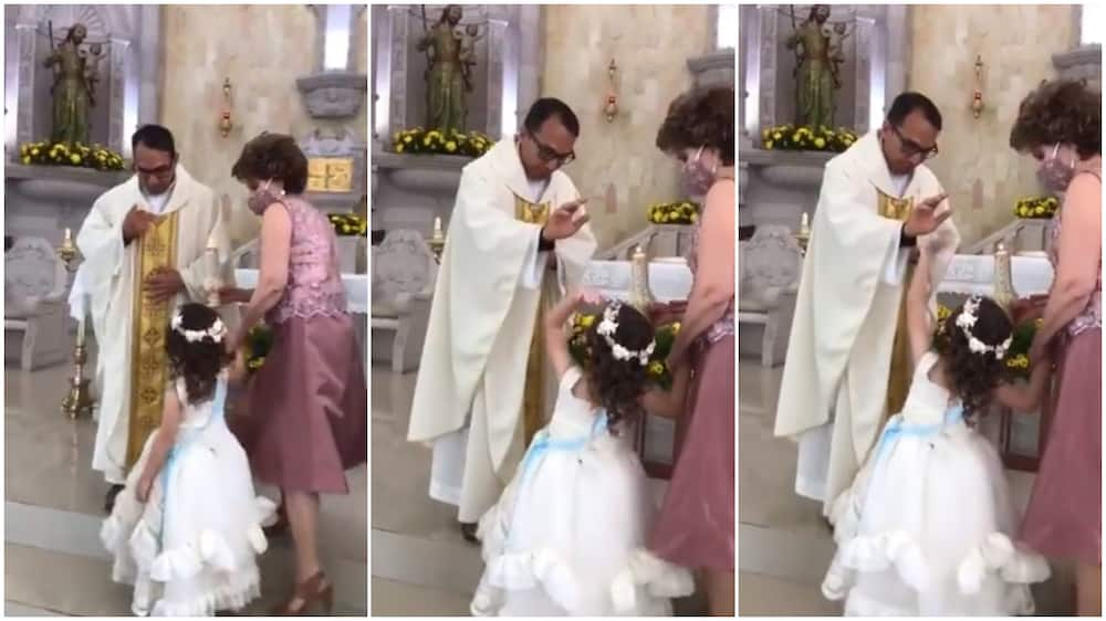 Funny Moment Little Girl Gives Catholic Priest Hi-Five During Prayer Session, Video Causes Frenzy