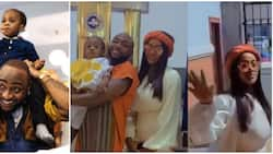 She still loves him: Reactions as Davido, Chioma take Ifeanyi to church after birthday, rock matching outfits