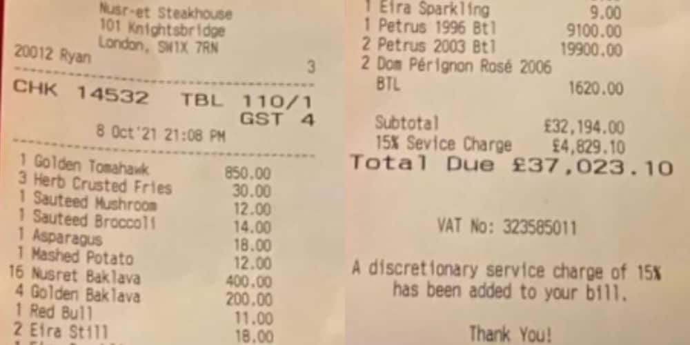 A table of four spent over N20m on food and drinks