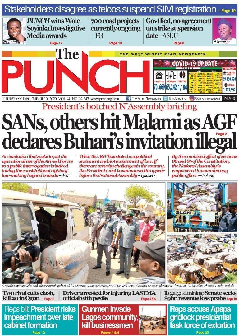 The Punch newspaper for Thursday, December 10