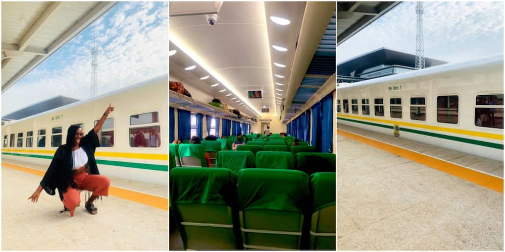 This is so exciting: Young lady excited as she rides Nigerian train for the 1st time, stirs massive reactions