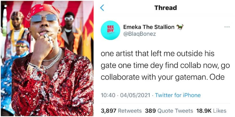 Karma: Blaqbonez Says Artiste Who Rejected Him in the Past Now Looking for Collabo, Directs Him to Gateman