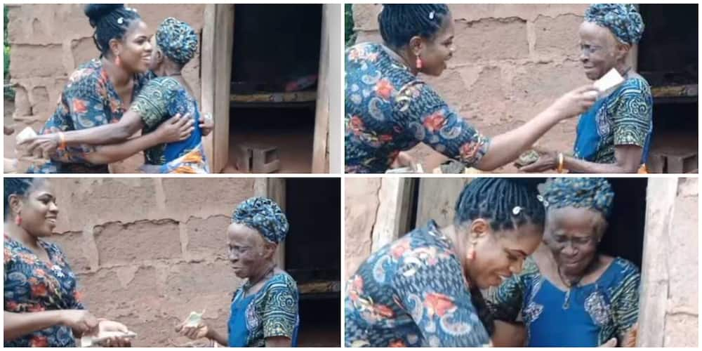Young Nigerian lady stuns woman who is over 100 years old, visits and rains money on her, video goes viral