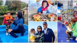 From UK to River Jordan: 5 photo evidence showing Regina Daniels' son chopping life as he travels the world