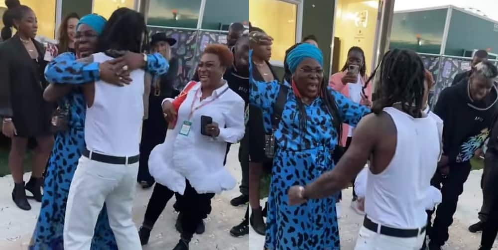 Heartwarming moment Pogba's mother gave Burna Boy, his mum a warm hug after CR7's brace against Newcastle