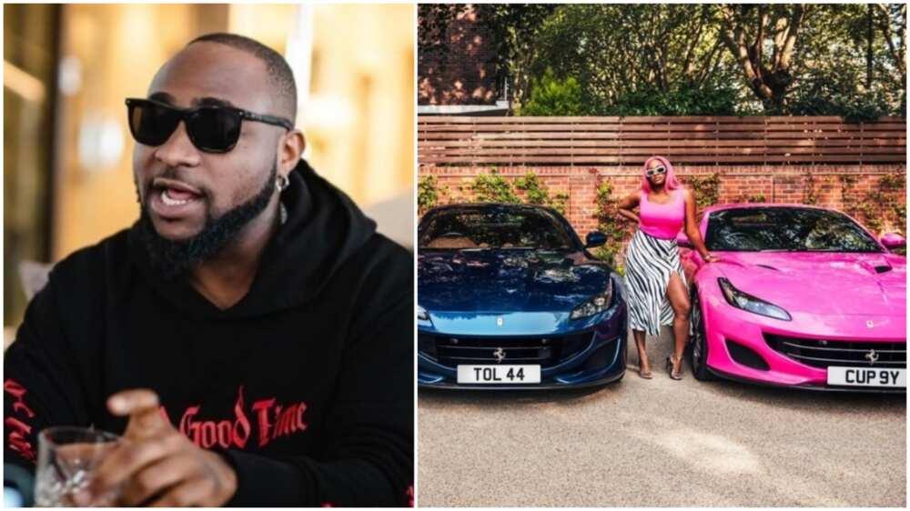 Davido congratulates DJ Cuppy after dad got her a Ferrari, prays to do same for daughters