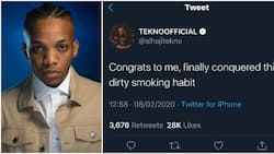 Nigerian singer Tekno finally quits smoking habit, celebrates on social media