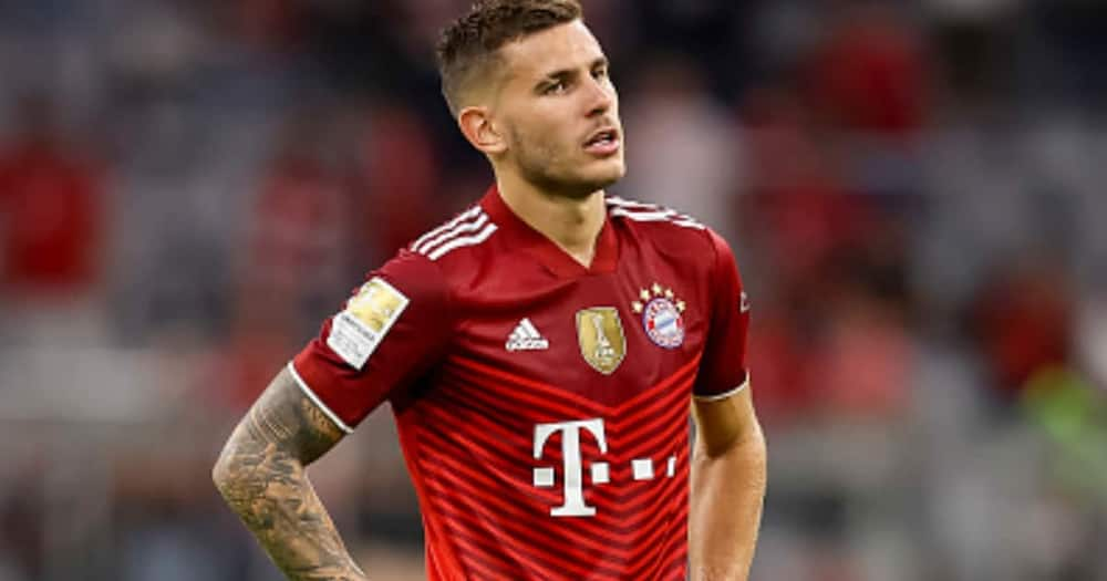 Lucas Hernandez of Bayern Muenchen looks dejected during the Bundesliga match between FC Bayern Muenchen and Eintracht Frankfurt at Allianz Arena on October 3, 2021 in Munich, Germany. (Photo by Roland Krivec/DeFodi Images via Getty Images)